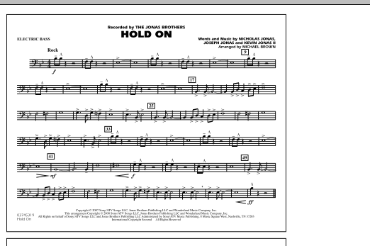 Michael Brown Hold On - Electric Bass sheet music notes and chords. Download Printable PDF.