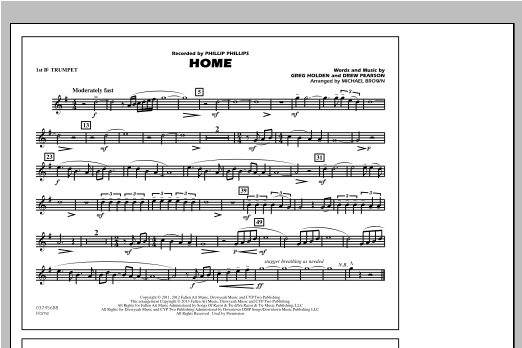 Michael Brown Home - 1st Bb Trumpet sheet music notes and chords. Download Printable PDF.