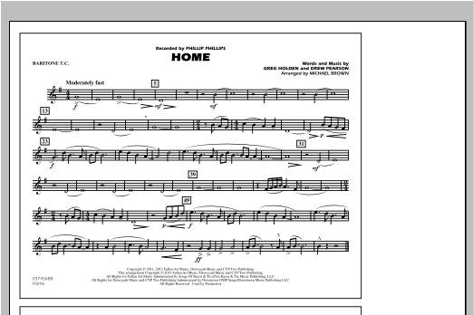 Michael Brown Home - Baritone T.C. sheet music notes and chords. Download Printable PDF.