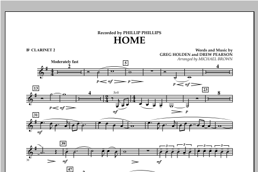 Michael Brown Home - Bb Clarinet 2 sheet music notes and chords. Download Printable PDF.