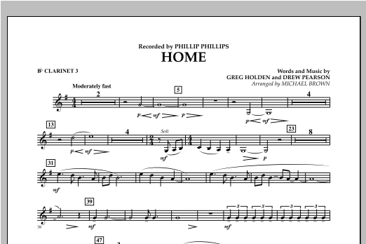 Michael Brown Home - Bb Clarinet 3 sheet music notes and chords. Download Printable PDF.