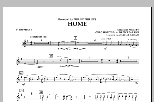 Michael Brown Home - Bb Trumpet 1 sheet music notes and chords. Download Printable PDF.