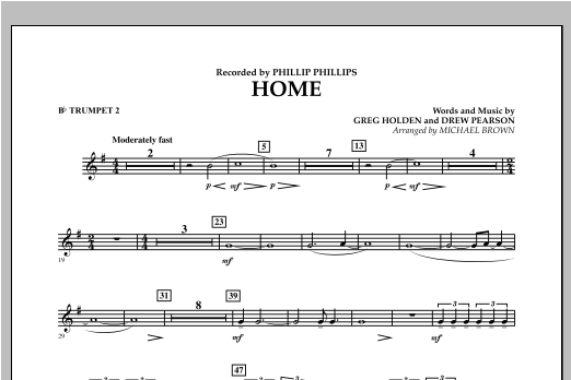 Michael Brown Home - Bb Trumpet 2 sheet music notes and chords. Download Printable PDF.