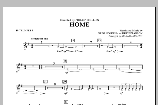 Michael Brown Home - Bb Trumpet 3 sheet music notes and chords. Download Printable PDF.