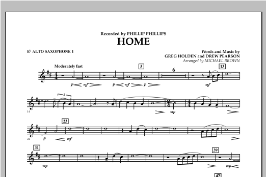 Michael Brown Home - Eb Alto Saxophone 1 sheet music notes and chords. Download Printable PDF.