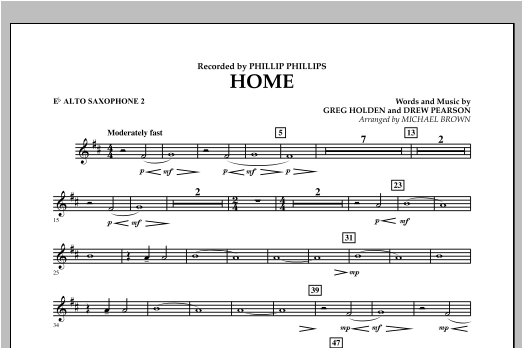 Michael Brown Home - Eb Alto Saxophone 2 sheet music notes and chords. Download Printable PDF.