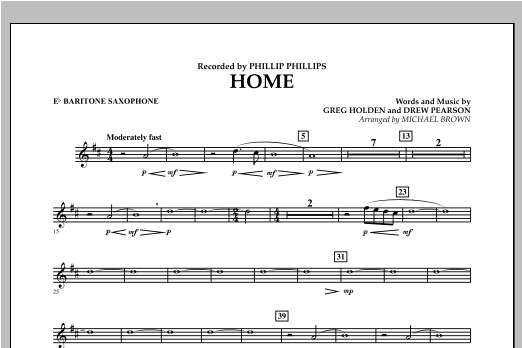 Michael Brown Home - Eb Baritone Saxophone sheet music notes and chords. Download Printable PDF.