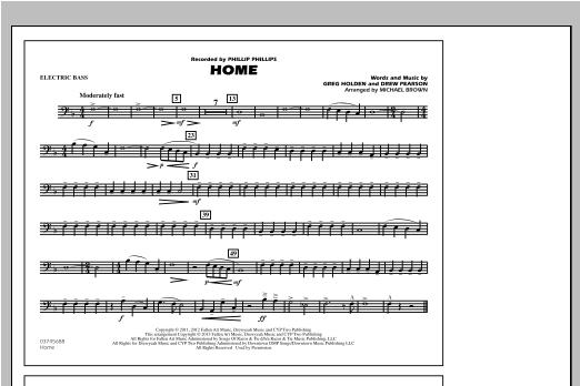 Michael Brown Home - Electric Bass sheet music notes and chords. Download Printable PDF.