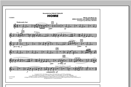 Michael Brown Home - F Horn sheet music notes and chords. Download Printable PDF.