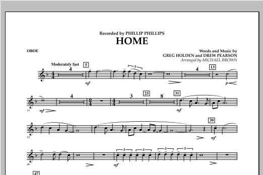 Michael Brown Home - Oboe sheet music notes and chords. Download Printable PDF.