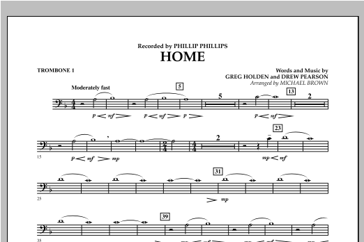 Michael Brown Home - Trombone 1 sheet music notes and chords. Download Printable PDF.