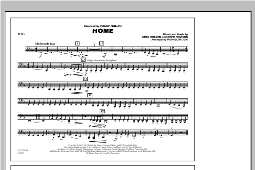 Michael Brown Home - Tuba sheet music notes and chords. Download Printable PDF.