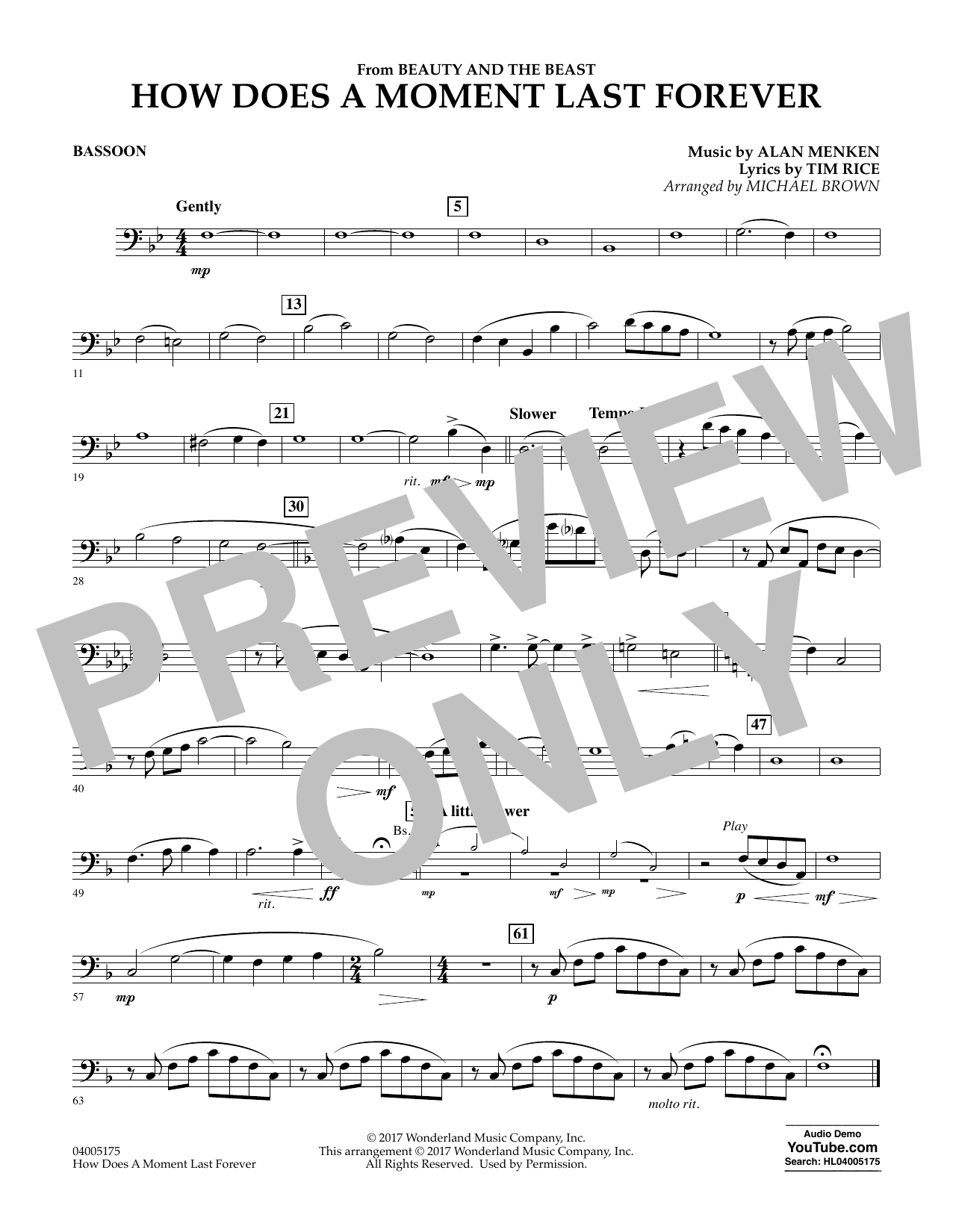 Michael Brown How Does a Moment Last Forever (from Beauty and the Beast) - Bassoon sheet music notes and chords. Download Printable PDF.