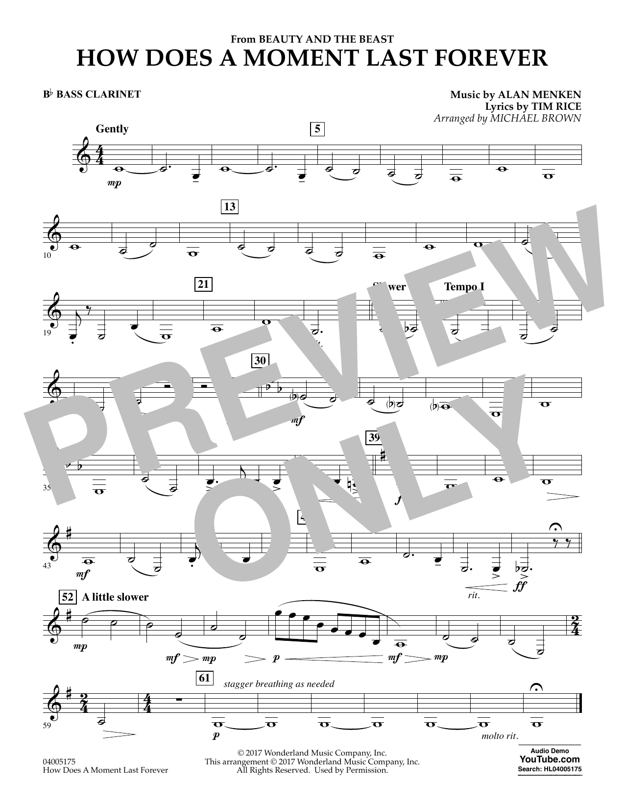Michael Brown How Does a Moment Last Forever (from Beauty and the Beast) - Bb Bass Clarinet sheet music notes and chords. Download Printable PDF.