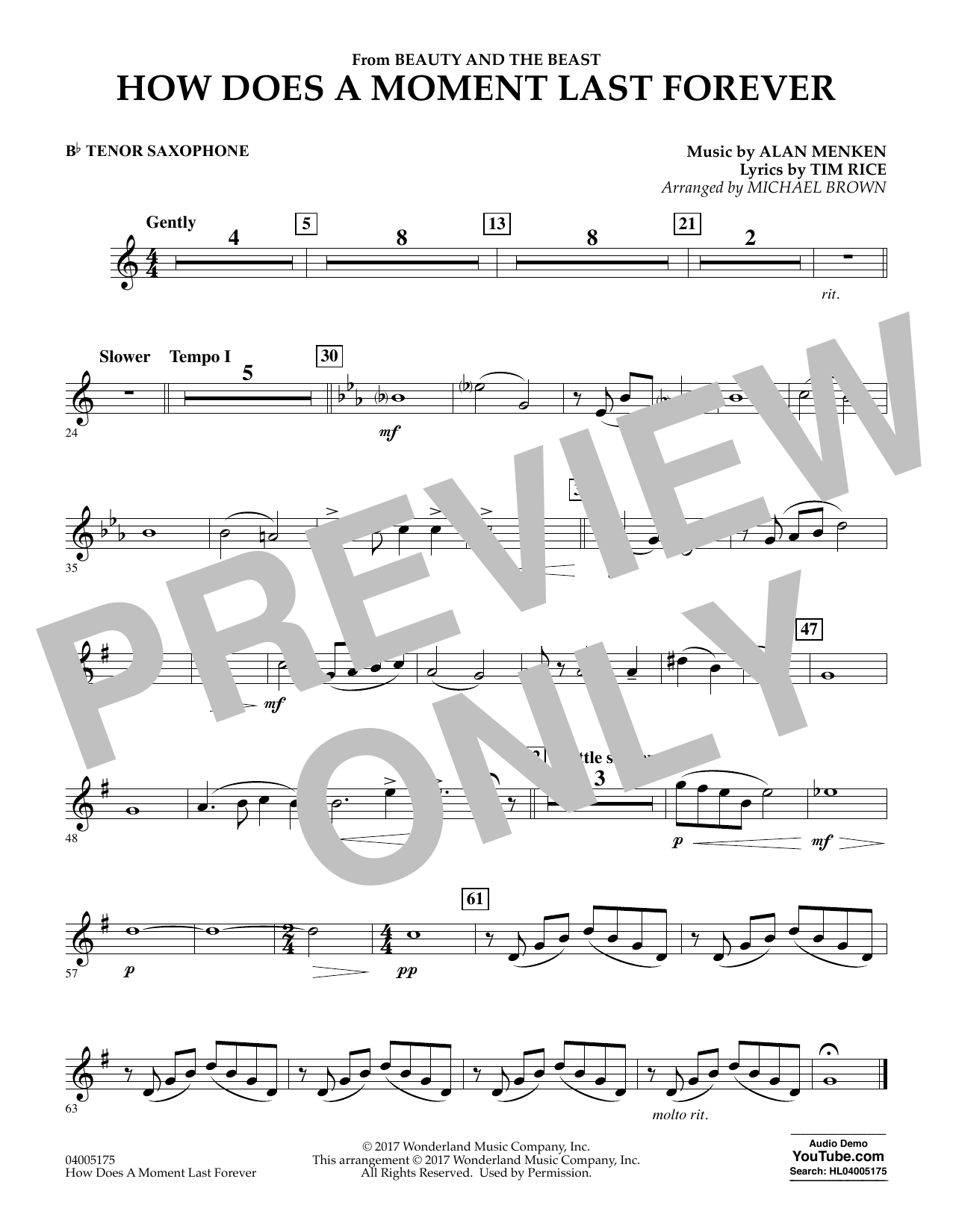 Michael Brown How Does a Moment Last Forever (from Beauty and the Beast) - Bb Tenor Saxophone sheet music notes and chords. Download Printable PDF.