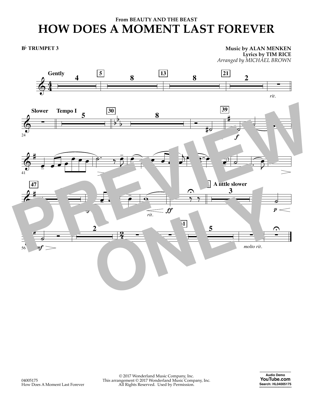 Michael Brown How Does a Moment Last Forever (from Beauty and the Beast) - Bb Trumpet 3 sheet music notes and chords. Download Printable PDF.