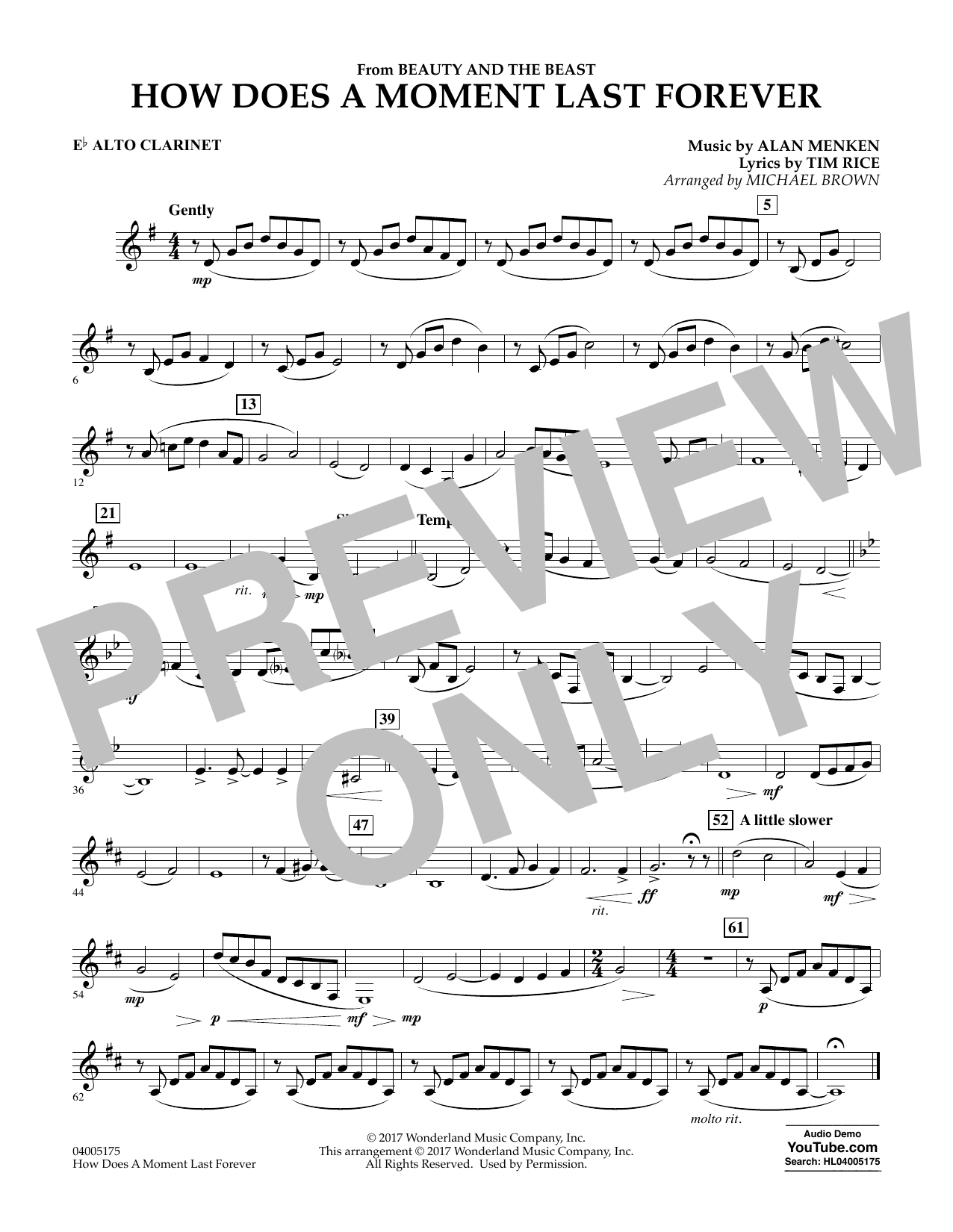 Michael Brown How Does a Moment Last Forever (from Beauty and the Beast) - Eb Alto Clarinet sheet music notes and chords. Download Printable PDF.