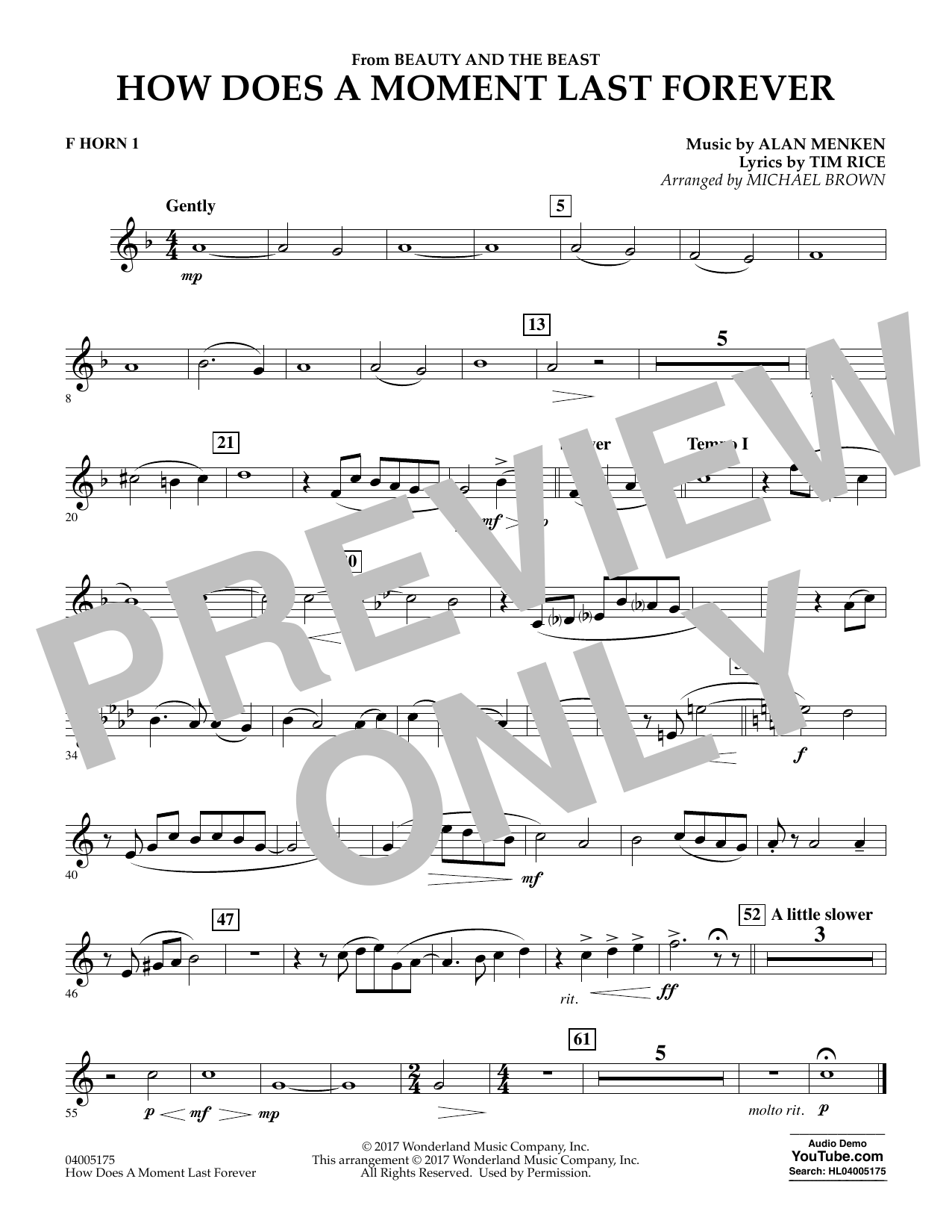 Michael Brown How Does a Moment Last Forever (from Beauty and the Beast) - F Horn 1 sheet music notes and chords. Download Printable PDF.