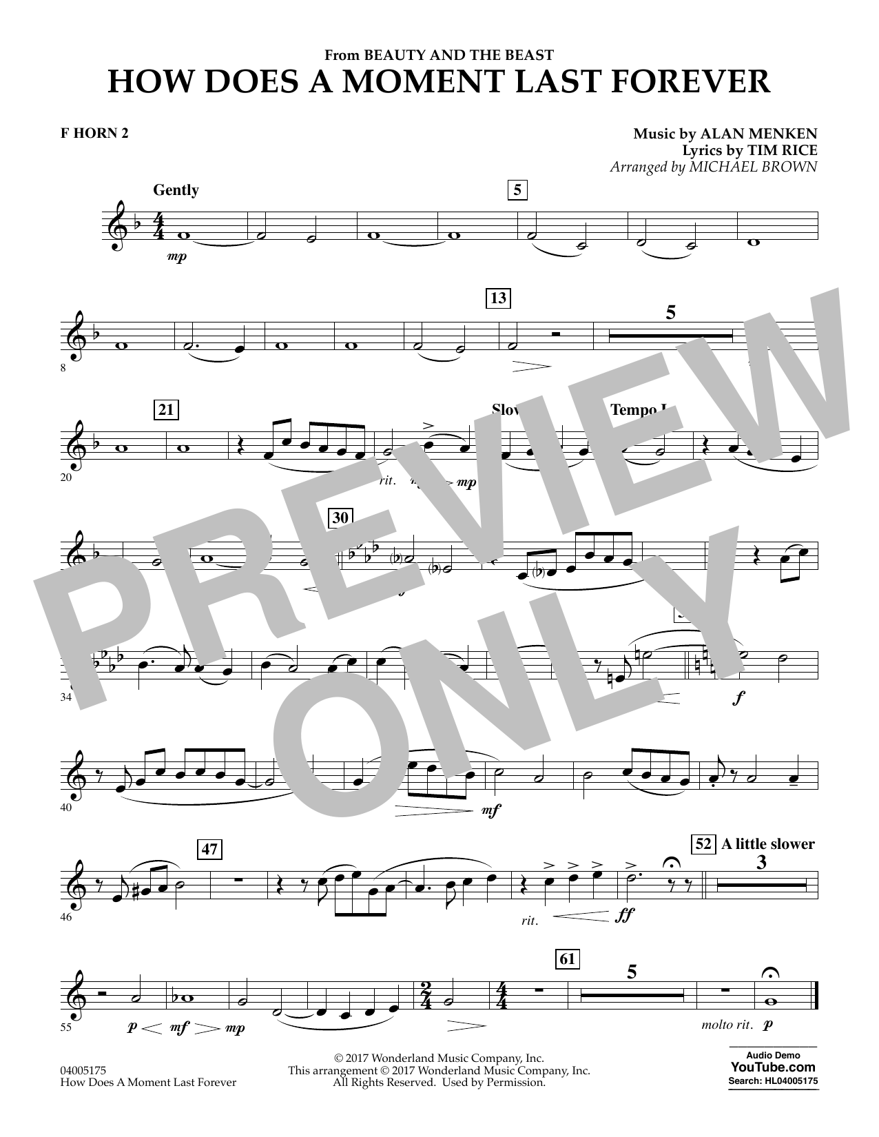 Michael Brown How Does a Moment Last Forever (from Beauty and the Beast) - F Horn 2 sheet music notes and chords. Download Printable PDF.