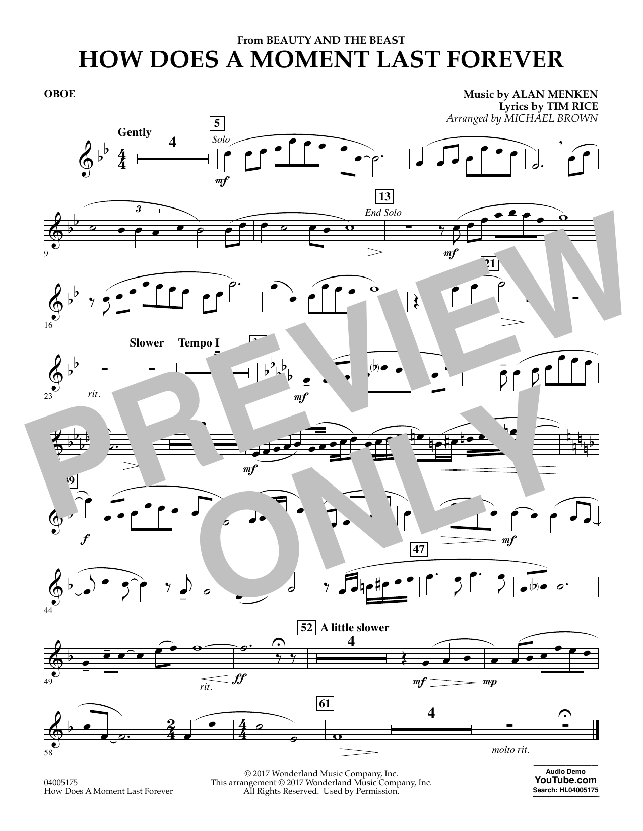 Michael Brown How Does a Moment Last Forever (from Beauty and the Beast) - Oboe sheet music notes and chords. Download Printable PDF.