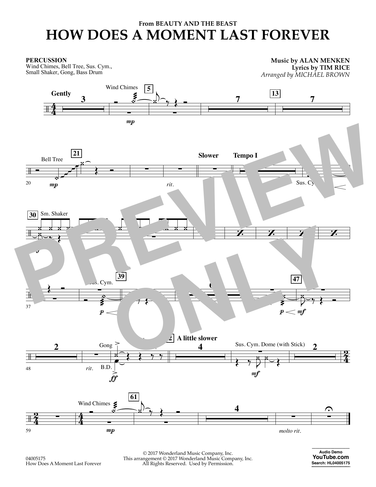Michael Brown How Does a Moment Last Forever (from Beauty and the Beast) - Percussion sheet music notes and chords. Download Printable PDF.