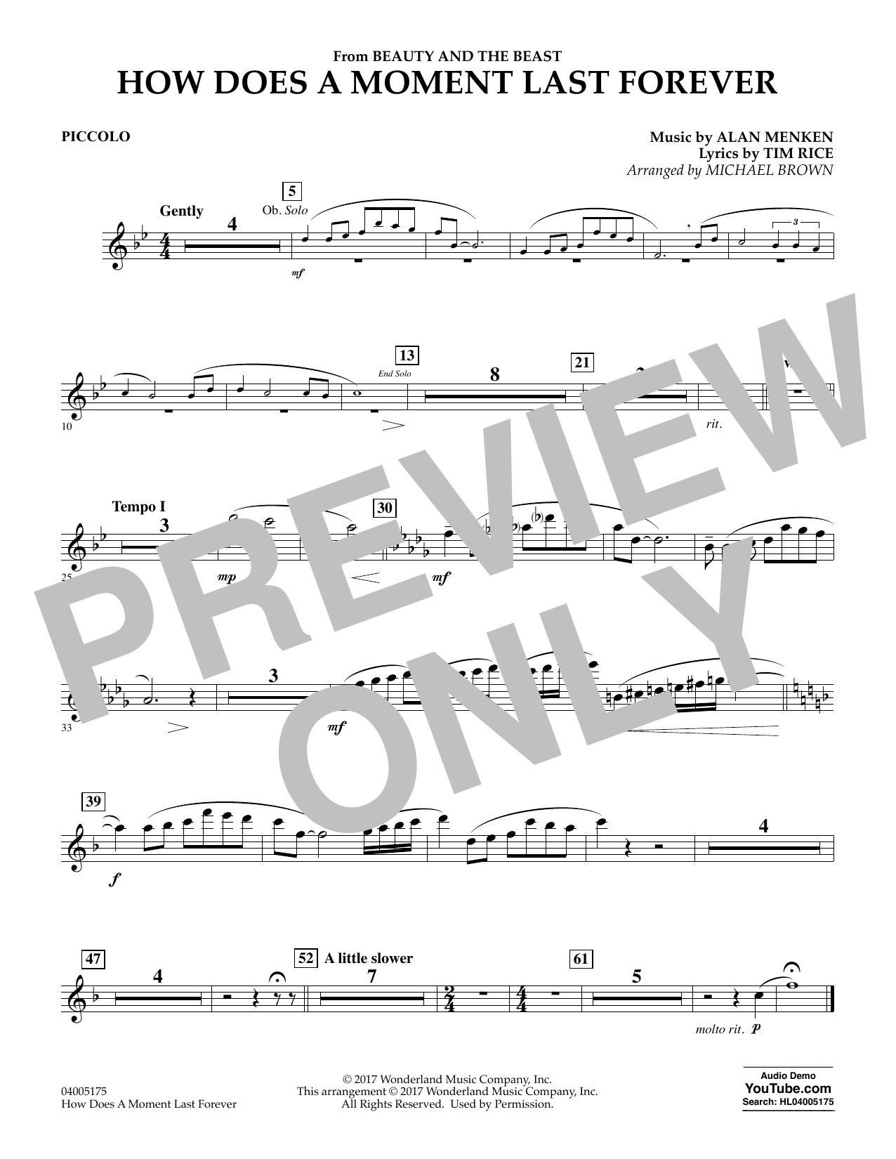 Michael Brown How Does a Moment Last Forever (from Beauty and the Beast) - Piccolo sheet music notes and chords. Download Printable PDF.