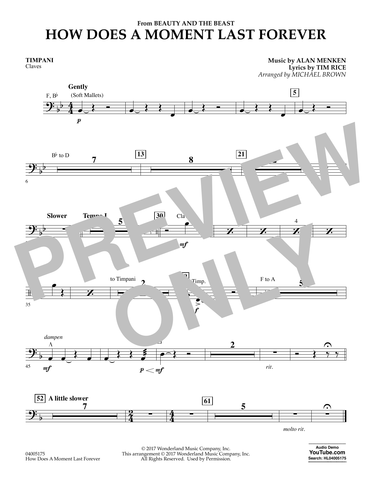 Michael Brown How Does a Moment Last Forever (from Beauty and the Beast) - Timpani sheet music notes and chords. Download Printable PDF.