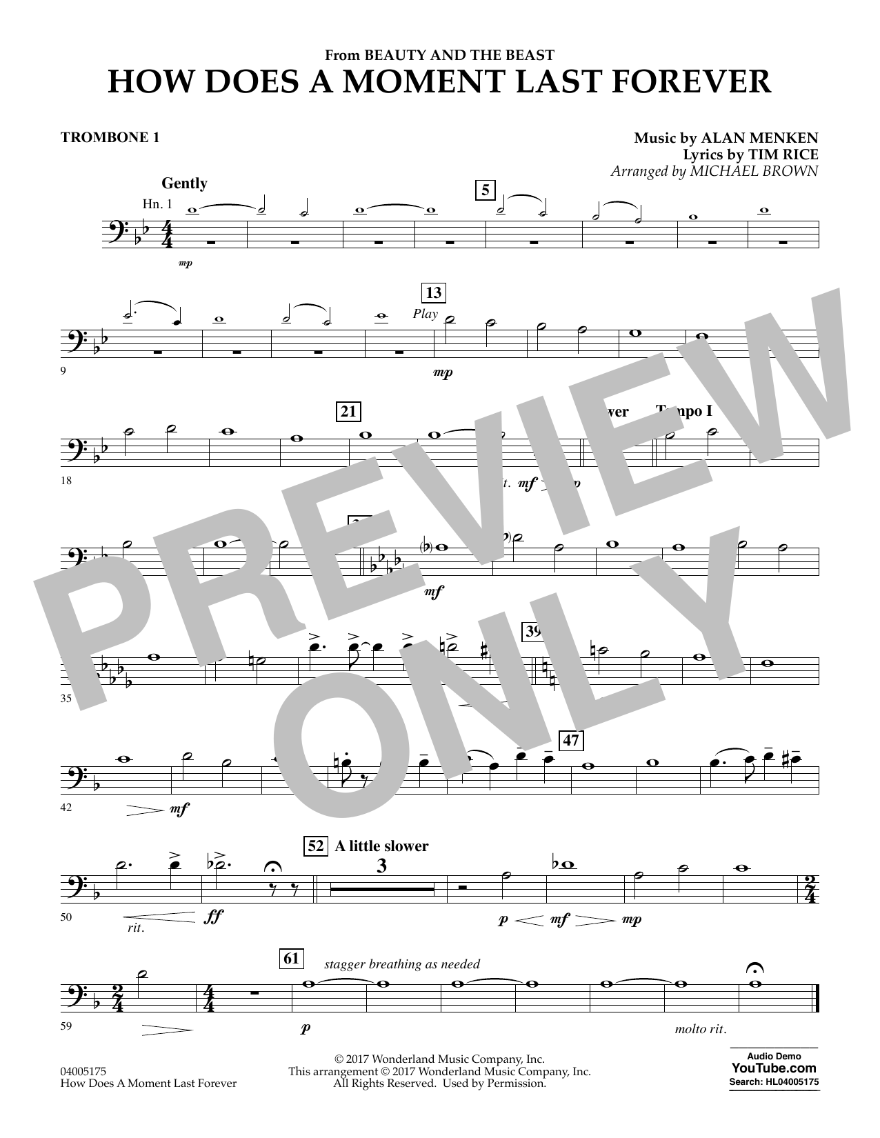 Michael Brown How Does a Moment Last Forever (from Beauty and the Beast) - Trombone 1 sheet music notes and chords. Download Printable PDF.