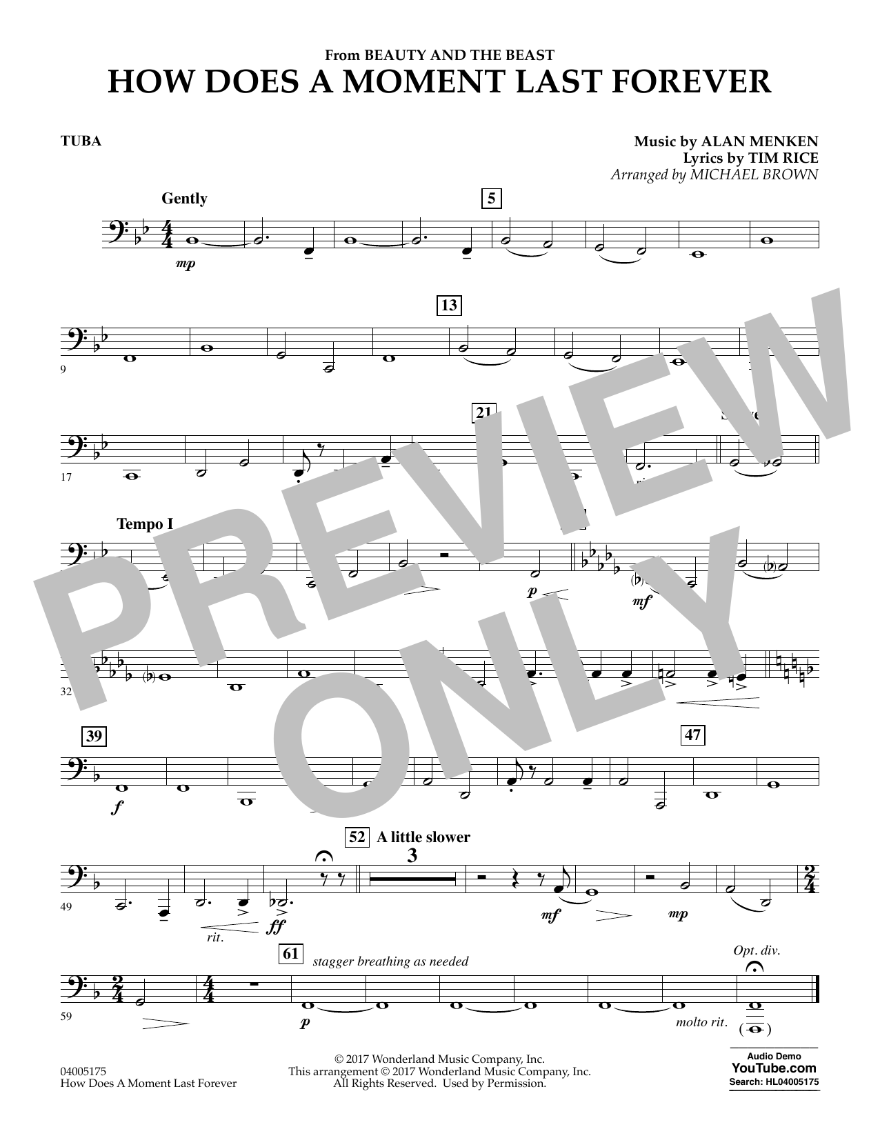 Michael Brown How Does a Moment Last Forever (from Beauty and the Beast) - Tuba sheet music notes and chords. Download Printable PDF.