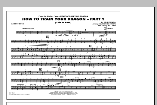 Michael Brown How To Train Your Dragon Part 1 - 2nd Trombone sheet music notes and chords. Download Printable PDF.