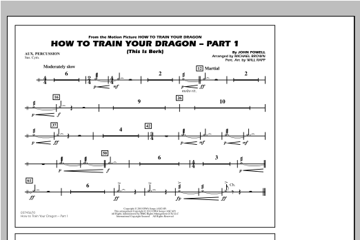 Michael Brown How To Train Your Dragon Part 1 - Aux Percussion sheet music notes and chords. Download Printable PDF.