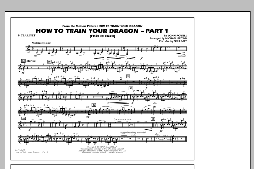 Michael Brown How To Train Your Dragon Part 1 - Bb Clarinet sheet music notes and chords. Download Printable PDF.
