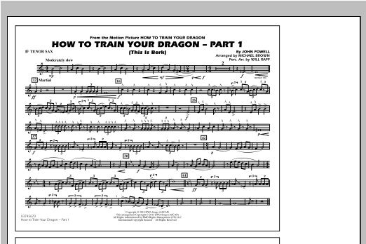 Michael Brown How To Train Your Dragon Part 1 - Bb Tenor Sax sheet music notes and chords. Download Printable PDF.
