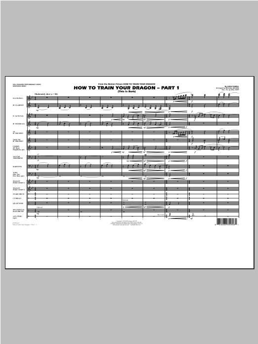 Michael Brown How To Train Your Dragon Part 1 - Conductor Score (Full Score) sheet music notes and chords. Download Printable PDF.