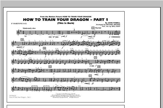 Michael Brown How To Train Your Dragon Part 1 - Eb Baritone Sax sheet music notes and chords. Download Printable PDF.
