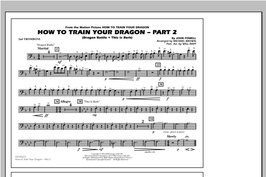 Michael Brown How To Train Your Dragon Part 2 - 2nd Trombone sheet music notes and chords. Download Printable PDF.