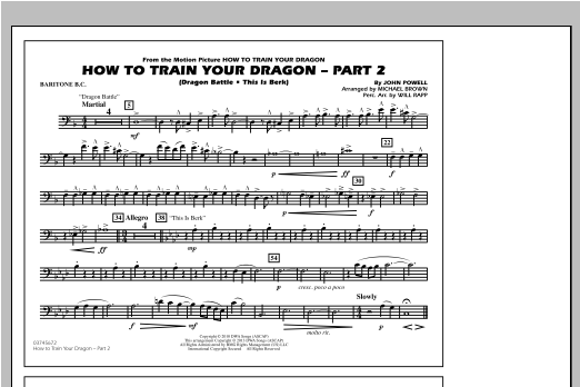 Michael Brown How To Train Your Dragon Part 2 - Baritone B.C. sheet music notes and chords. Download Printable PDF.