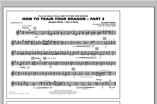 Michael Brown How To Train Your Dragon Part 2 - Baritone T.C. sheet music notes and chords. Download Printable PDF.