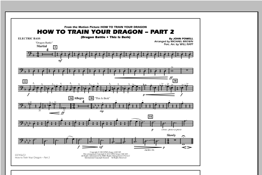 Michael Brown How To Train Your Dragon Part 2 - Electric Bass sheet music notes and chords. Download Printable PDF.