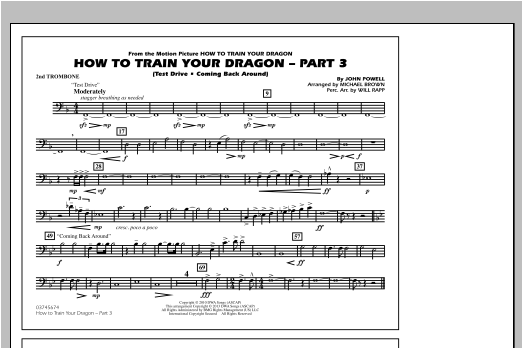 Michael Brown How To Train Your Dragon Part 3 - 2nd Trombone sheet music notes and chords. Download Printable PDF.