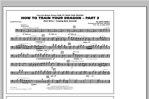 Michael Brown How To Train Your Dragon Part 3 - Baritone B.C. sheet music notes and chords. Download Printable PDF.