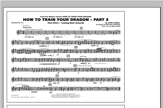 Michael Brown How To Train Your Dragon Part 3 - Baritone T.C. sheet music notes and chords. Download Printable PDF.