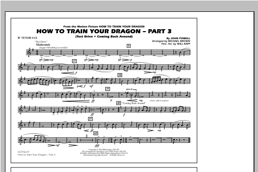 Michael Brown How To Train Your Dragon Part 3 - Bb Tenor Sax sheet music notes and chords. Download Printable PDF.