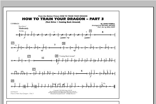 Michael Brown How To Train Your Dragon Part 3 - Cymbals sheet music notes and chords. Download Printable PDF.