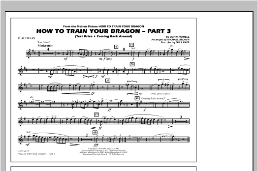 Michael Brown How To Train Your Dragon Part 3 - Eb Alto Sax sheet music notes and chords. Download Printable PDF.