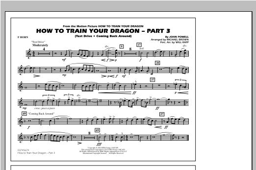 Michael Brown How To Train Your Dragon Part 3 - F Horn sheet music notes and chords. Download Printable PDF.