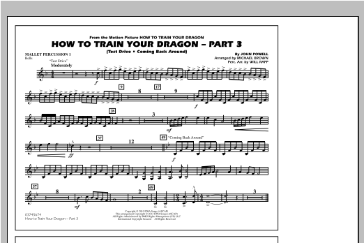 Michael Brown How To Train Your Dragon Part 3 - Mallet Percussion 1 sheet music notes and chords. Download Printable PDF.