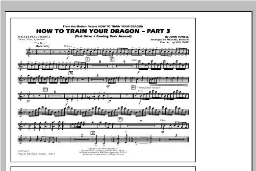 Michael Brown How To Train Your Dragon Part 3 - Mallet Percussion 2 sheet music notes and chords. Download Printable PDF.