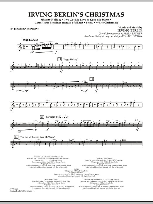 Michael Brown Irving Berlin's Christmas (Medley) - Bb Tenor Saxophone sheet music notes and chords
