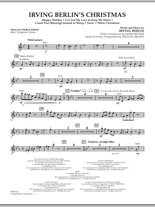 Michael Brown Irving Berlin's Christmas (Medley) - Mallet Percussion sheet music notes and chords